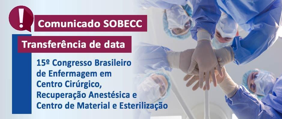Comunicado SOBECC - transferência de data do 15º Congresso para 30/11 a 03/12